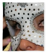 Woman With Mask Fleece Blanket