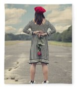 Woman With Red Rose Fleece Blanket