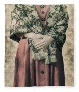 Woman With Shawl Fleece Blanket