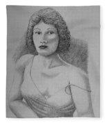 Woman With Strap Off Shoulder Fleece Blanket