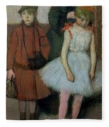 Woman With Two Little Girls Fleece Blanket
