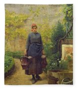 Woman With Watering Cans Fleece Blanket