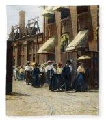 Women Leaving Work, 1895 Fleece Blanket