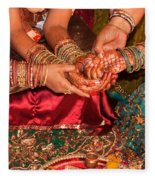 Women With Decorated Hands Holding Hands In A Hindu Religious Ceremony Fleece Blanket