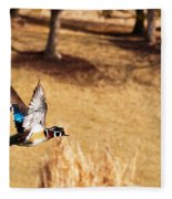 Wood Duck In Fflight Fleece Blanket