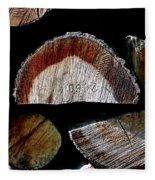 Wood. Piled Up Logs. Fleece Blanket