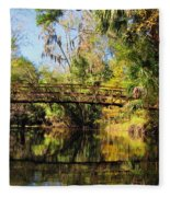 Wooden Bridge Over The Hillsborough River Fleece Blanket