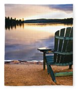Wooden Chair At Sunset On Beach Fleece Blanket