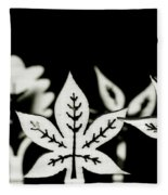 Wooden Leaf Shapes In Black And White Fleece Blanket