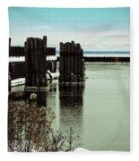 Wooden Pier Pilones  Fleece Blanket