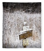 Wooden Sign In Winter By The Yankee Springs Recreation Area In Michigan Fleece Blanket