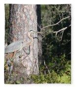 Woodland Great Blue Heron Fleece Blanket