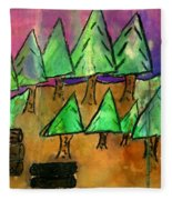 Woods Cut Logs And A Sunset Fleece Blanket