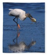 Woodstork Catches Fish Fleece Blanket