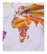 World Map Abstract Painted Fleece Blanket