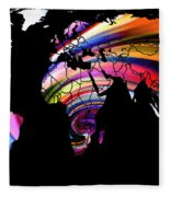 World Map Abstract Painting 2 Fleece Blanket