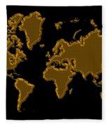World Map Gold Fleece Blanket