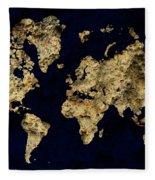 World Map Rock Fleece Blanket