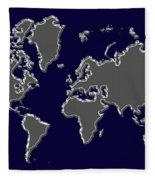 World Map Silver Fleece Blanket