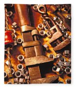 Wrench Tools And Nuts Fleece Blanket