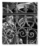 Wrought Iron Gate And Pots Black And White Fleece Blanket