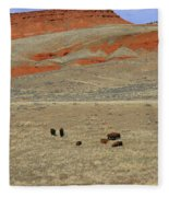 Wyoming Red Cliffs And Buffalo Fleece Blanket