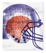 X-ray Of Head In Football Helmet Fleece Blanket