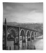 Yaquina Bay Bridge Oregon B And W Fleece Blanket
