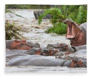 Yawning Hippo Hippopotamus Amphibius Fleece Blanket