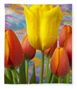 Yellow And Orange Tulips Fleece Blanket