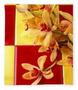 Yellow And Red Orchids  Fleece Blanket