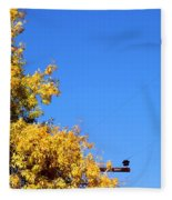 Yellow Autumn Tree Fleece Blanket