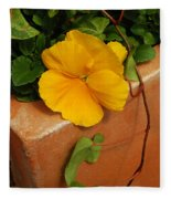 Yellow Blossom On Planter Fleece Blanket