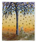 Yellow-blossomed Wishing Tree Fleece Blanket