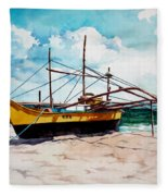 Yellow Boat Docking On The Shore Fleece Blanket
