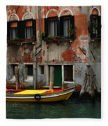 Yellow Boat Venice Italy Fleece Blanket
