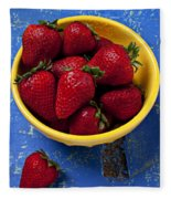 Yellow Bowl Of Strawberries Fleece Blanket