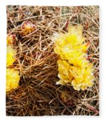 Yellow Cactus Flowers Fleece Blanket