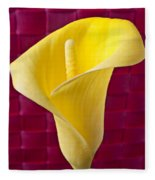 Yellow Calla Lily Red Mat Fleece Blanket