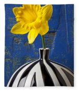 Yellow Daffodil In Striped Vase Fleece Blanket