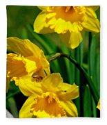 Yellow Daffodils And Honeybee Fleece Blanket