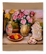Yellow Daffodils Red Roses  Peaches And Oranges With Tea Cup  Fleece Blanket