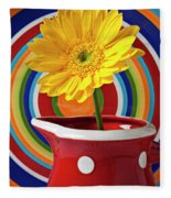 Yellow Daisy In Red Pitcher Fleece Blanket