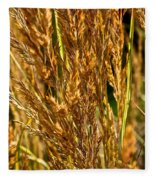 Yellow Feather Reed Grass Fleece Blanket