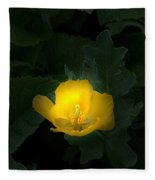 Yellow Flower Against Green Fleece Blanket