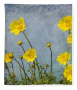 Yellow Flower Blossoms Fleece Blanket