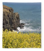 Yellow Flowers On The Northern California Coast Fleece Blanket
