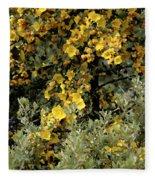 Yellow Flowers On Tree Fleece Blanket