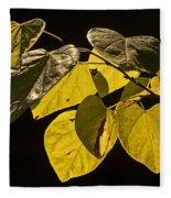 Yellow Leaves On A Tree Branch Fleece Blanket