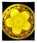 Yellow Lily Kaleidoscope Under Glass Fleece Blanket